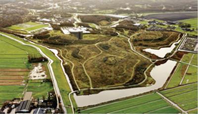 Ook meegezonden naar de gemeenteraad deze luchtfoto van het Buytenpark met een impressie van de uitbreiding van de derde baan van SnowWorld.